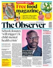 The Observer front page for 21 June 2020