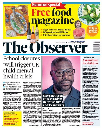 The Observer Newspaper Front Page (UK) for 21 June 2020