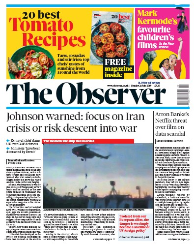 The Observer Newspaper Front Page (UK) for 21 July 2019
