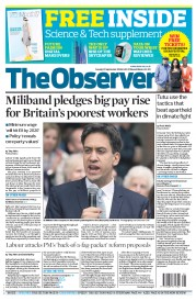 The Observer (UK) Newspaper Front Page for 21 September 2014