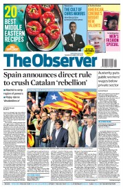 The Observer (UK) Newspaper Front Page for 22 October 2017