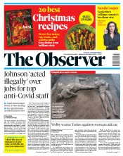 The Observer (UK) Newspaper Front Page for 22 November 2020