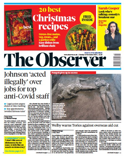 The Observer Newspaper Front Page (UK) for 22 November 2020