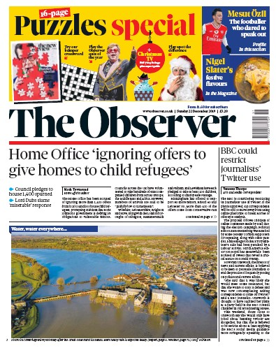 The Observer Newspaper Front Page (UK) for 22 December 2019