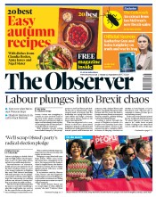 The Observer (UK) Newspaper Front Page for 22 September 2019