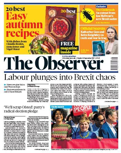The Observer Newspaper Front Page (UK) for 22 September 2019