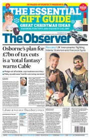 The Observer (UK) Newspaper Front Page for 23 November 2014