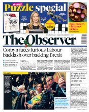 The Observer (UK) Newspaper Front Page for 23 December 2018