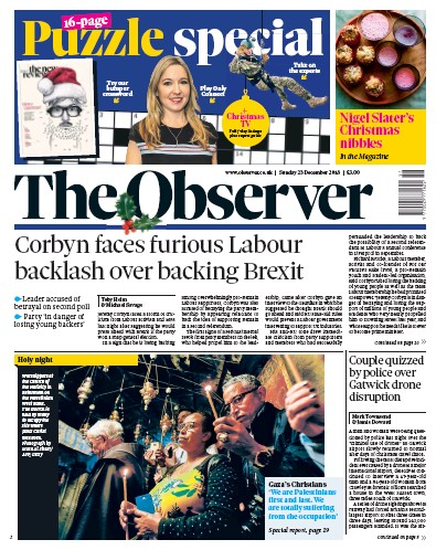 The Observer Newspaper Front Page (UK) for 23 December 2018