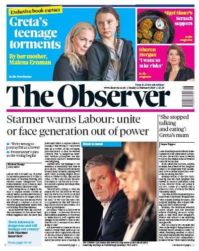 The Observer Newspaper Front Page (UK) for 23 February 2020
