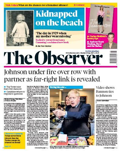 The Observer Newspaper Front Page (UK) for 23 June 2019