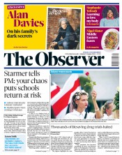 The Observer front page for 23 August 2020