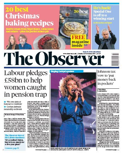 The Observer Newspaper Front Page (UK) for 24 November 2019