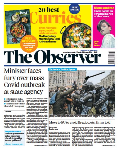 The Observer Newspaper Front Page (UK) for 24 January 2021