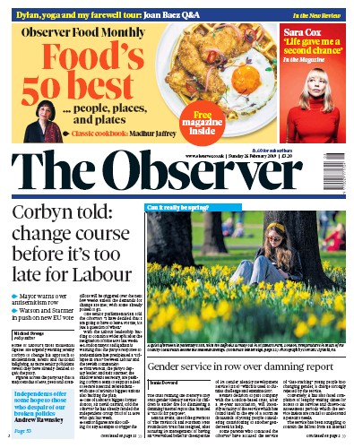 The Observer Newspaper Front Page (UK) for 24 February 2019