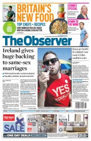 The Observer (UK) Newspaper Front Page for 24 May 2015