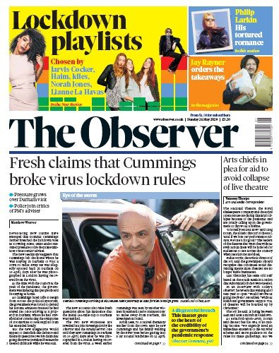 The Observer Newspaper Front Page (UK) for 24 May 2020