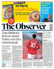 The Observer front page for 25 October 2020