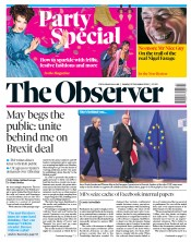 The Observer (UK) Newspaper Front Page for 25 November 2018
