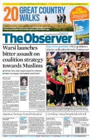 The Observer (UK) Newspaper Front Page for 25 January 2015