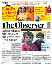 The Observer (UK) Newspaper Front Page for 25 February 2018
