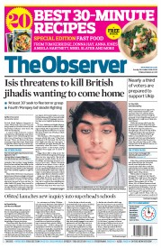 The Observer (UK) Newspaper Front Page for 26 October 2014
