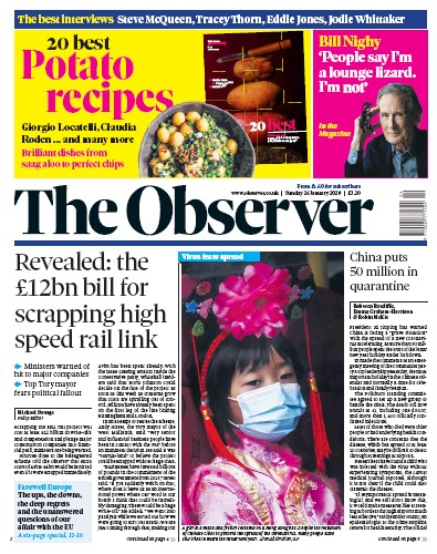 The Observer Newspaper Front Page (UK) for 26 January 2020
