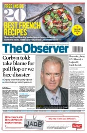 The Observer (UK) Newspaper Front Page for 26 February 2017