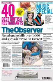The Observer (UK) Newspaper Front Page for 26 April 2015