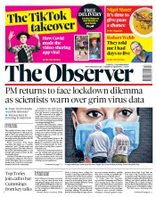 The Observer front page for 26 April 2020