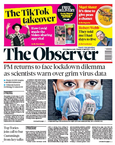 The Observer Newspaper Front Page (UK) for 26 April 2020
