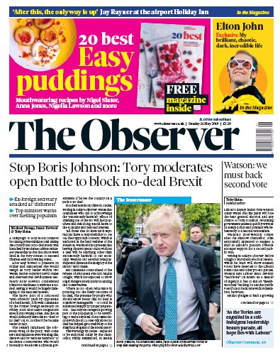 The Observer Newspaper Front Page (UK) for 26 May 2019