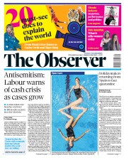The Observer front page for 26 July 2020