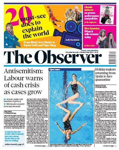 The Observer Newspaper Front Page (UK) for 26 July 2020
