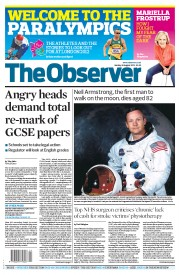 The Observer (UK) Newspaper Front Page for 26 August 2012