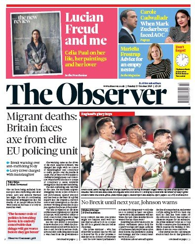 The Observer Newspaper Front Page (UK) for 27 October 2019