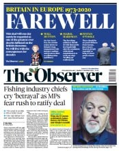 The Observer front page for 27 December 2020