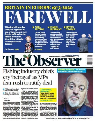 The Observer Newspaper Front Page (UK) for 27 December 2020