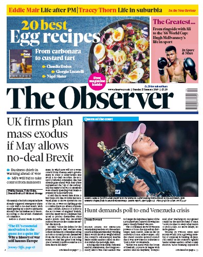 The Observer Newspaper Front Page (UK) for 27 January 2019
