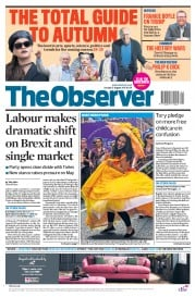 The Observer (UK) Newspaper Front Page for 27 August 2017