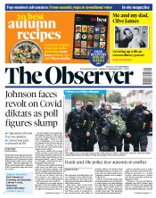 The Observer front page for 27 September 2020
