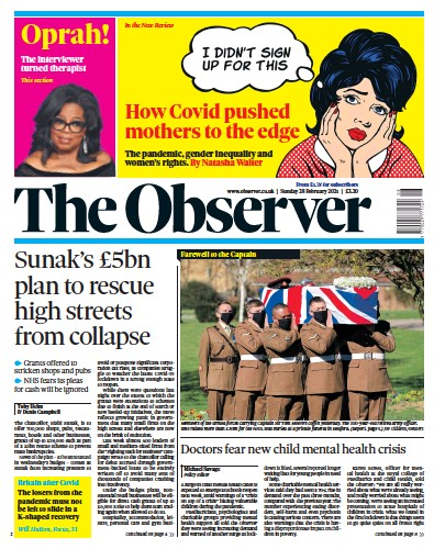 The Observer Newspaper Front Page (UK) for 28 February 2021