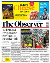 The Observer front page for 28 March 2021