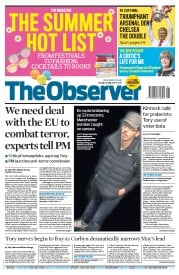 The Observer (UK) Newspaper Front Page for 28 May 2017