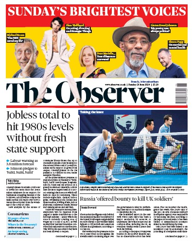 The Observer Newspaper Front Page (UK) for 28 June 2020
