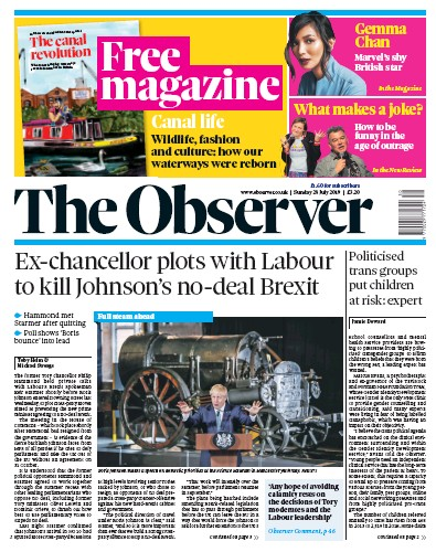 The Observer Newspaper Front Page (UK) for 28 July 2019