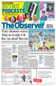 The Observer (UK) Newspaper Front Page for 29 October 2017