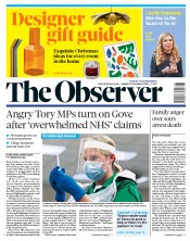 The Observer front page for 29 November 2020
