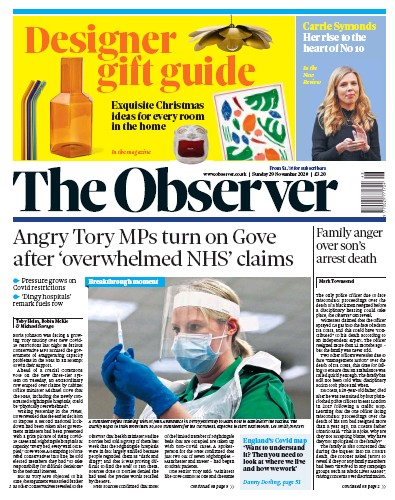 The Observer Newspaper Front Page (UK) for 29 November 2020
