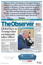 The Observer (UK) Newspaper Front Page for 29 January 2017